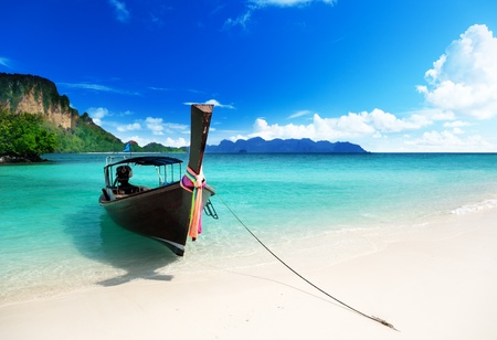 paradise bay: long boat and poda island in Thailand