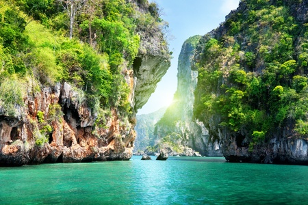 thailand view: rocks and sea in Krabi Thailand Stock Photo