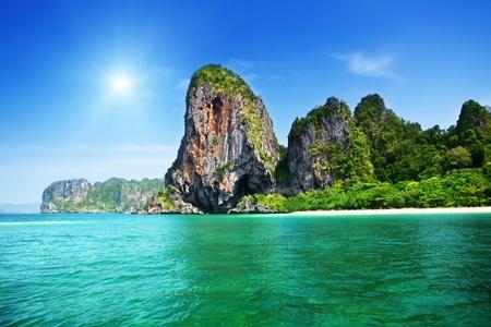 ao: rocks on Railay beach in Krabi Thailand