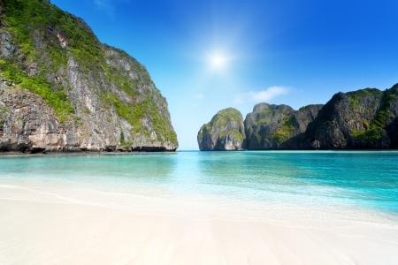 Moning in Maya Bay Phi Phi Leh Insel Thailand Standard-Bild