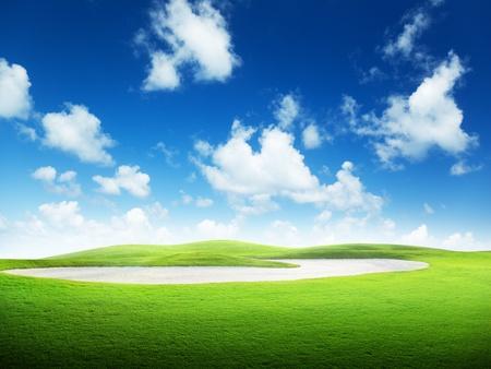 golf course: golf field