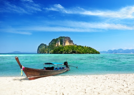 sea scenery: long boat and poda island in Thailand