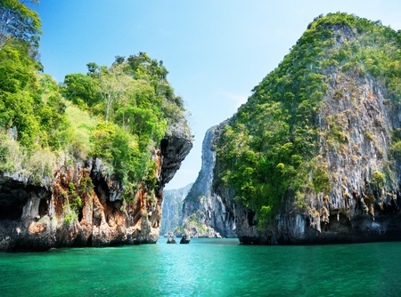 thailand view: rocks and sea in Krabi Thsiland Stock Photo
