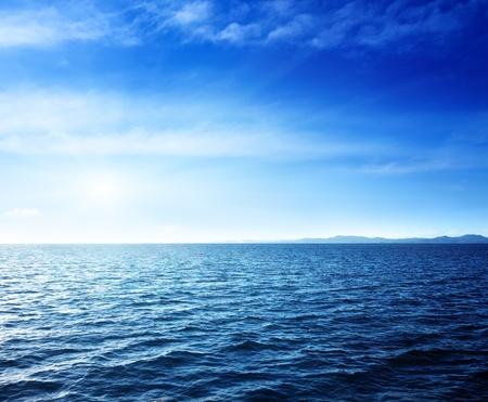 horizon reflection: Caribbean sea and perfect sky