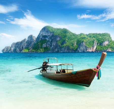 boat on Phi Phi island Thailand Stock Photo