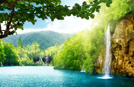 plitvice: waterfall in deep forest of Croatia