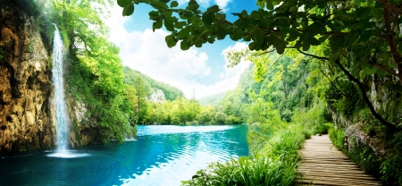 plitvice: way in deep forest of Croatia