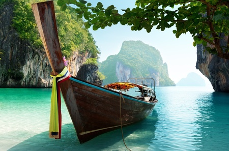 thailand view: boat and islands in andaman sea Thailand