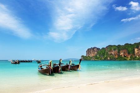 ao: boats on Ao Nang beach Thailand