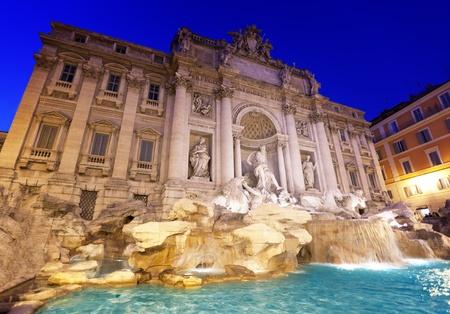 roma: fountain Trevi in Rome at night Stock Photo