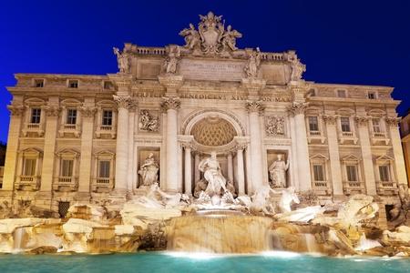 italian fountain: fountain Trevi in Rome at night Stock Photo