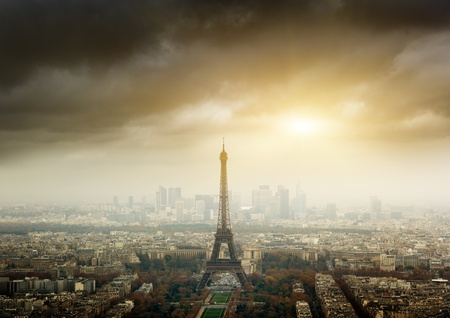 eiffel tower in Paris and stormy sky photo