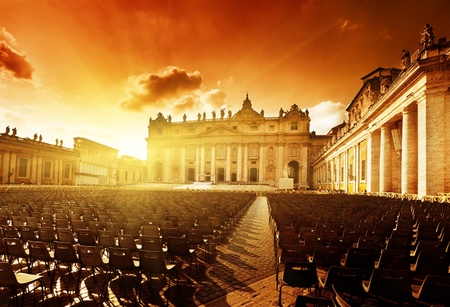 Saint Peters Square in Vatican and seats photo