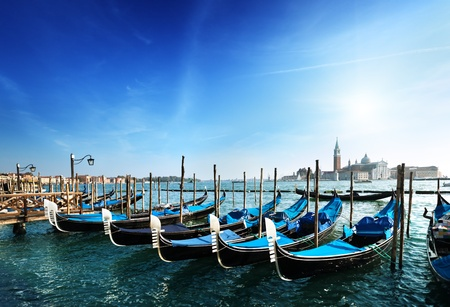 Gondolas on Grand Canal and San Giorgio Maggiore church in Venice Stock Photo - 12116531