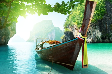 coral ocean: boat and islands in andaman sea Thailand