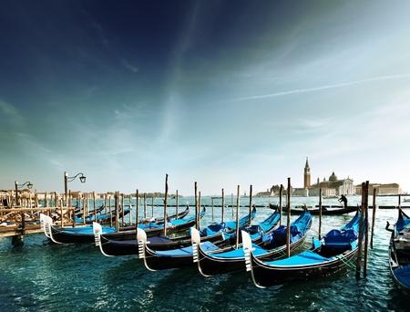 venice gondola: Gondolas on Grand Canal and San Giorgio Maggiore church in Venice