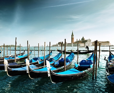 Gondolas on Grand Canal and San Giorgio Maggiore church in Venice photo