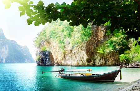 long boat on island in Thailand Stock Photo - 12708776