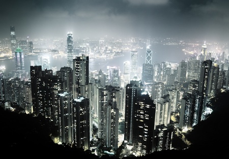 Hong Kong island from Victoria's Peak at night Stock Photo - 13546238