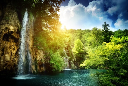 plitvice: waterfall in deep forest