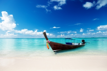 caribbean island: wood boat on the beach Stock Photo