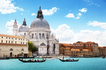 canal house: Grand Canal and Basilica Santa Maria della Salute, Venice, Italy Stock Photo