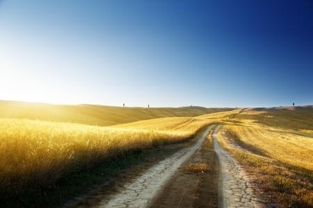 carretera: carretera de tierra en campo en Toscana, Italia en el momento de la puesta del sol