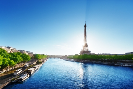 water tower: Seine in Paris with Eiffel tower in sunrise time