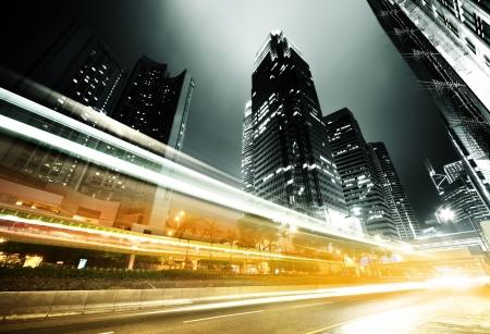 city centre: traffic in Hong Kong at night
