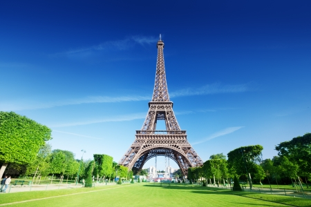 eiffel: sunny morning and Eiffel Tower, Paris, France  Stock Photo