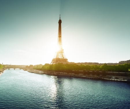 seine: Seine in Paris with Eiffel tower in sunrise time