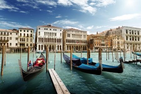 gondola: gondolas in Venice, Italy.