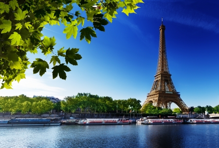 Seine in Paris with Eiffel tower in sunrise time Stock Photo - 15091309