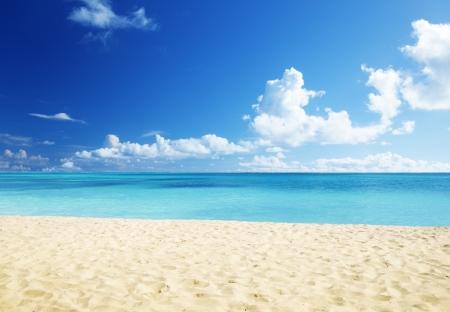 the sky clear: arena de la playa del Mar Caribe