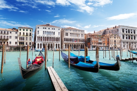 gondolas in Venice, Italy.  photo
