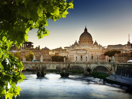 view on Tiber and St Peter Basilica in Vatican  photo