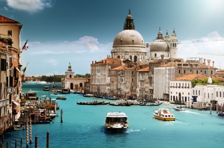 maria: Grand Canal und der Basilika Santa Maria della Salute, Venedig, Italien Lizenzfreie Bilder
