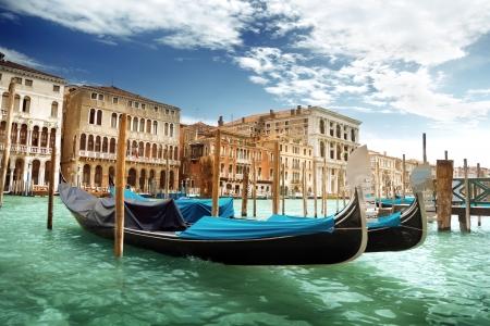 italy street: gondolas in Venice, Italy.