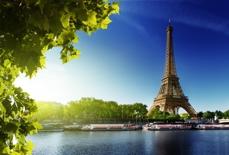 Seine in Paris with Eiffel tower in sunrise time photo