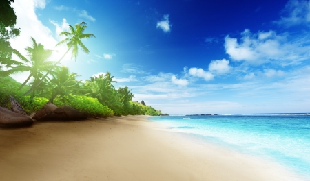 beach in sunset time on Mahe island in Seychelles 스톡 콘텐츠