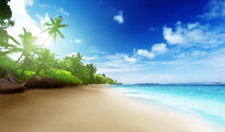 plaży w czasie zachodu słońca na wyspie Mahe na Seszelach