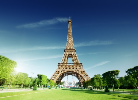 paris france: sunny morning and Eiffel Tower, Paris, France  Stock Photo