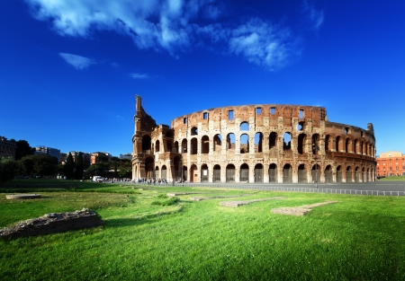 sunset and Colosseum in Rome, Italy