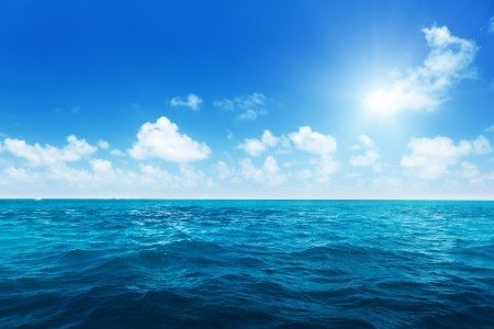 perfect sky and water of ocean Stock Photo