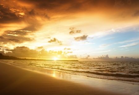 beach sunset: sunset on the beach of caribbean sea