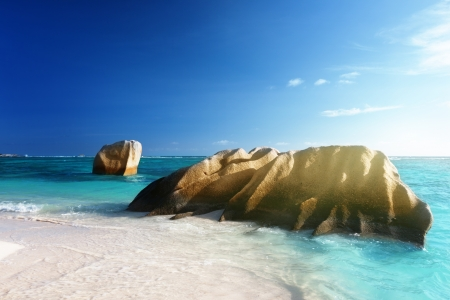 argent: sunset on the beach, Anse Source d Argent, La Digue island, Seychelles