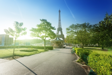 french way: sunny morning and Eiffel Tower, Paris, France  Editorial