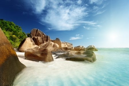 argent: sunset on the beach, Anse Source dArgent, La Digue island, Seychelles