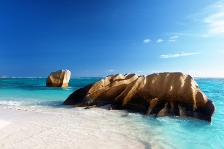 sunset on the beach, Anse Source d'Argent, La Digue island, Seychelles Stock Photo - 16991906