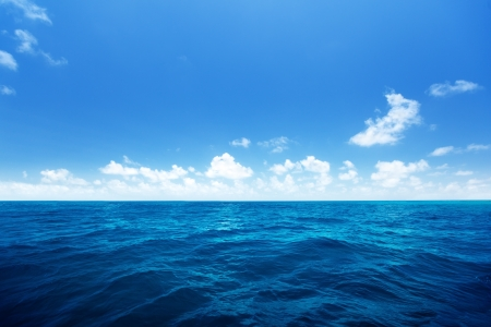 perfect sky and water of indian ocean Stock Photo
